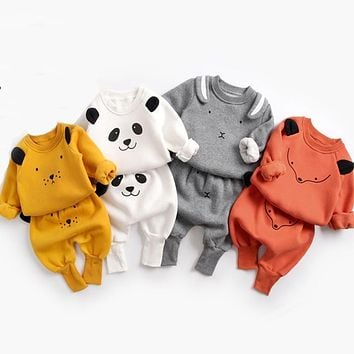 Baby Suit Autumn Winter Baby Boy Cartoon Cute Clothing Pullover Sweatshirt Top + Pant Clothes Set Baby Toddler Girl Outfit Suit