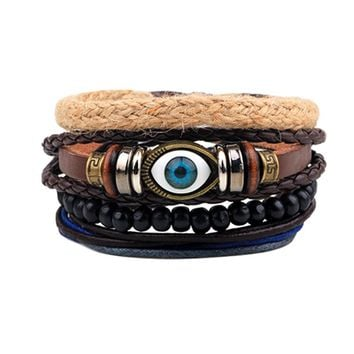 Punk Design Turkish Evil Eye Bracelets For Women Men Wristband Female Owl Leather Bracelet Synthetic Stone Vintage Jewelry