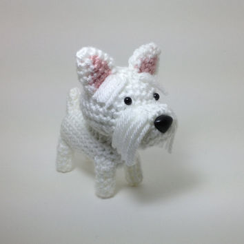 Westie Amigurumi Dog West Highland Terrier Crochet Dog Stuffed Animal Doll / Made to Order