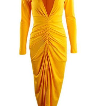 Yellow V-Neck Long Sleeve Ruffled Dress