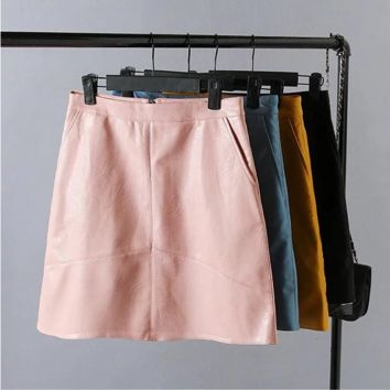 High Waist PU Leather High Waist Skirt B0014281