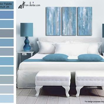 Blue & grey 3 piece wall art canvas print set, Abstract multi panel art - above bed decor, living room wall decor, dining room pictures