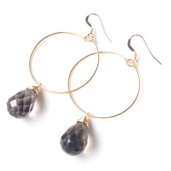 Amie Smoky Quartz Hoop Earrings