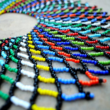 Zulu necklace,Statement shoulder necklace,Beaded collar necklace,tribal fashion,colourful necklace,ethnic African necklace