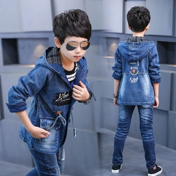 4-16T Baby Boy Clothes Boys Denim Jacket 2017 Spring Boys Outerwear For Children Brand Kids Jeans Coats For Boys Teenage Clothes