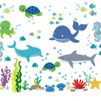 Sea Ocean Wall Decals, Boys Room Ocean Decals, Nursery Wall Decals,  Seahorse Decals
