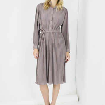 boho midi dress TAUPE long sleeve shirt waist dress accordian pleated minimalist dress vtg 70s bohemian disco small medium