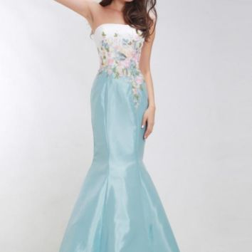 Luxury Mermaid Evening Dresses Long Strapless Appliques with Stone Floor-Length Maxi Prom Gowns Blue