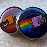 "Nyan Cat vs Tac Nayn Plugs - One PAIR - Sizes 2g, 0g, 00g, 7/16"", 1/2"", 9/16"", 5/8"", 3/4"", 7/8"", 1"" - Made To Order"