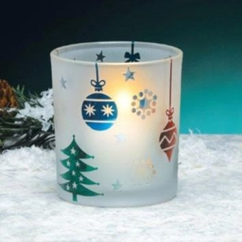 Christmas Scene Frosted Glass Votive Candle Holders, Set of 4 - Candle Holders - Home Accessories