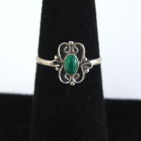 Vintage Sterling Silver & Malachite Ring