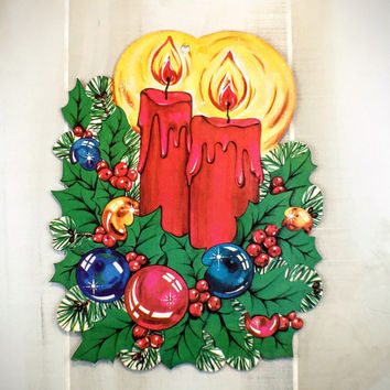 Vintage Christmas Die Cut Candle Centerpiece Paper Ephemera Holiday Cut Out Wall Decoration