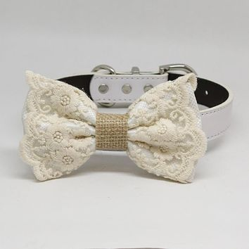 White Lace Dog Bow Tie collar, Handmade dog collar, White Lace bow tie