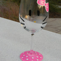 Sale - Hand Painted Hello Kitty Wine Glass