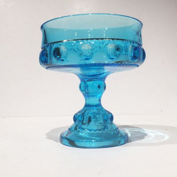 Aqua Blue Glass Kings Crown Compote, Aqua Blue King's Crown Pattern Candy Dish, Vintage Aqua Blue King's Crown Thumbprint Candy Bowl
