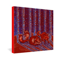 Renie Britenbucher Fox In Birch Batik Gallery Wrapped Canvas