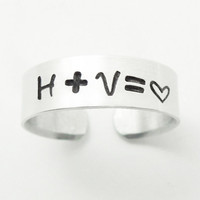 Stamped relationship ring heart ring - Commitment ring Couple ring Couples ring Adjustable ring