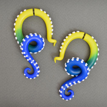 Octopus Fake Gauged Tentacle Earrings and Ear Plugs, Ombre Gauges, Color Fade