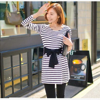White/Black Striped Maternity one-piece dress / Top