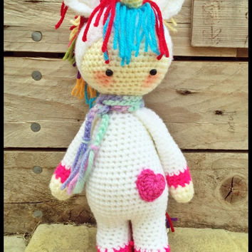 Handmade Crochet Amigurumi Ulrika Unicorn Doll  - Lalylala- cute Gift idea -  just over 10 inches tall **MADE TO ORDER**