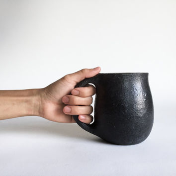 RUGGED Black Tenmoku MUG 18 oz, ceramic, pottery, handmade, rustic, coffee, tea, hot, cocoa, chocolate, milk, chai, latte, juice, beer