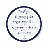 Navy Blue Thank You Nautical Wedding Stickers
