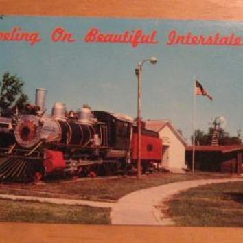 Vintage 1889 Baldwin Locomotive Train Pioneer Village Nebraska Postcard