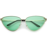 Women's Oversize Color Tone Metal Cat Eye Sunglasses C627