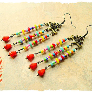 Boho Colorful Earrings, Modern Hippie Chandelier Earrings, Gypsy Soul, Boho Fashion, bohostyleme, Kaye Kraus