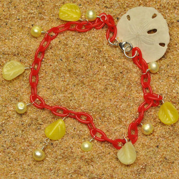 Red Anklet with Lemon Pearls and Leaves