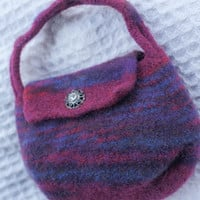 Little Girls Maroon Blue and Red , Purple Felted Purse Great Birthday gift for girl