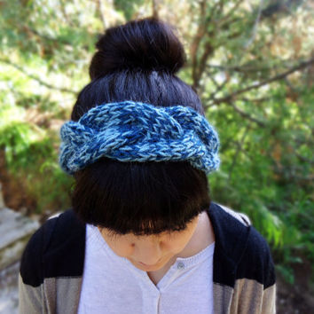 Hand knit womens headband, knitted wool headband, womens winter head wrap, womens knit earwarmer,cable knit headband,blue grey knit headband