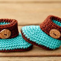Crochet Baby Booties - Blue and Brown Baby Shoes - Wooden Button Baby Girl Baby Booties Baby Boots Crib Shoes