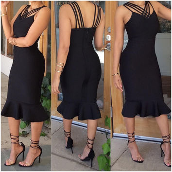 Black Sleeveless Flounced Midi Straps Dress