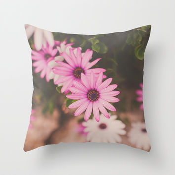 Hot Pink Daisies Throw Pillow by Hello Twiggs