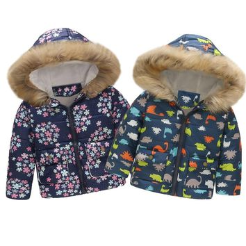 MUQGEW Hot sale Toddler Baby Girl Boy Floral Dinosaur Winter Warm Jacket Hooded Windproof Coat Dropshipping Baby Clothes