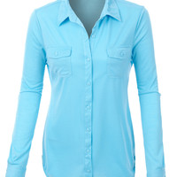 LE3NO Womens Lightweight Blouse Top with Adjustable Sleeves (CLEARANCE)