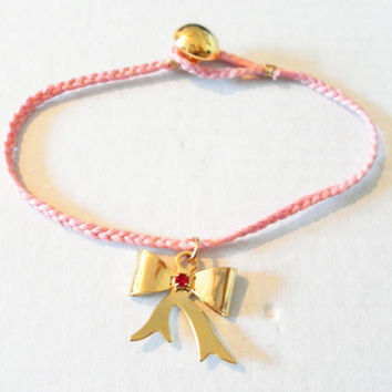 Braided Gold plate Bow Ribbon Friendship Bracelets by zurdokero