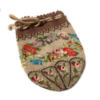 Victorian Beaded Bag, Micro Bead Floral Design, Drawstring Crochet Header, Multi Color, 1900s Antique Beaded Purse, Vintage Gift For Her