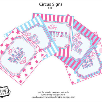 Carnival Party Signs, Circus Party Supplies, Carnival Party Supplies, Carnival Party, Circus Party, Birthday SIgns