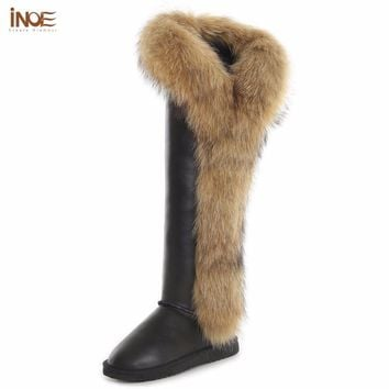 INOE fox fur cow split leather long winter snow boots for women over the knee winter shoes thigh boots high quality waterproof