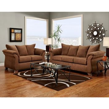 Aruba Microfiber Pillow Back Sofa and Loveseat Set, Chocolate | Overstock.com Shopping - The Best Deals on Sofas & Loveseats