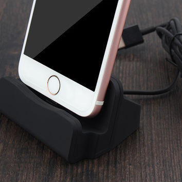 NganSek Dock For Apple iPhone 5 5S SE 6 7 6s Plus 7Plus Sync Data Charging Dock Station Desktop Docking Charger USB Cable