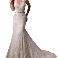 Harshori V-Neckline Cap-Sleeve Lace And Tulle With Satin Wedding Gown