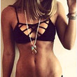 Black Cutout Straps Bra With Paired Panty