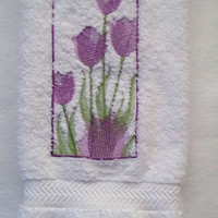Purple Tulips Embroidered Bathroom White Hand Towel $11.00