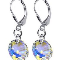 SCER020 Sterling Silver 10mm Crystal Earrings Made with Swarovski Elements