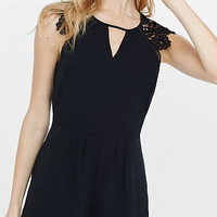Lace Trim Open Back Romper from EXPRESS
