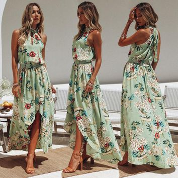 Style Halter Women Casual Loose Dress Floral Printing Sleevelss Ladies Boho Beach Sundress Lady Maxi Dress designer clothes