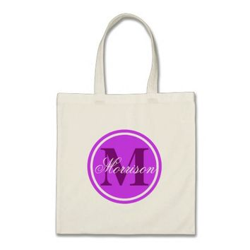 Purple Prestige Monogram Tote Bag